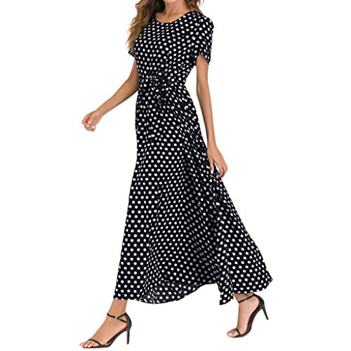 Mikilon Women Casual Boho Summer Maxi Dresses Polka Dot Short Sleeve Swing Dress with Belt Black