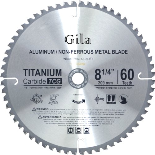GilaTools 8-1/4-Inch 60 Teeth TCG Non-Ferrous Metal Cutting Carbide Saw Blade