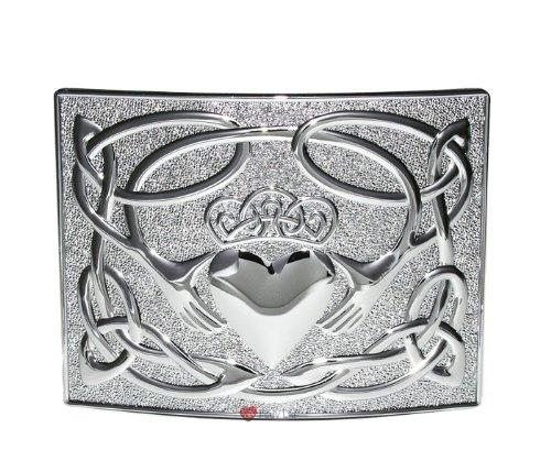 Claddagh Kilt Belt Waist Plate in Chrome I Luv LTD