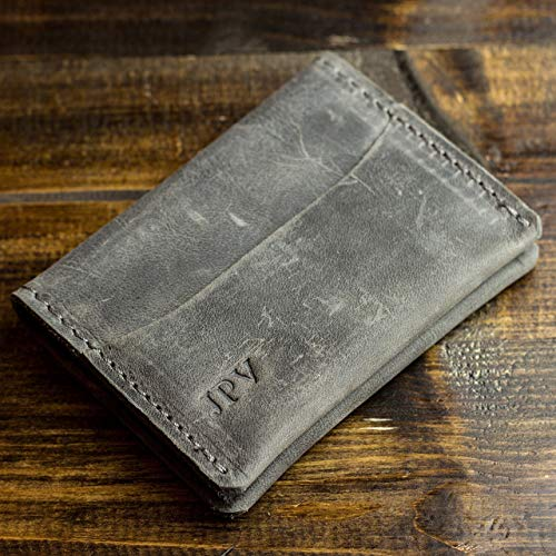 Pegai Personalized Modern Minimalist Credit Card Wallet, Distressed Leather Bifold Card Wallet - Champaign | Rock Gray