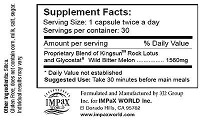 MPX 100 - Blood Sugar Regulation, Weight Management, Healthy Liver Function w/ Wild Bitter Melon (Glycostat) & Rock Lotus (Kingsun)
