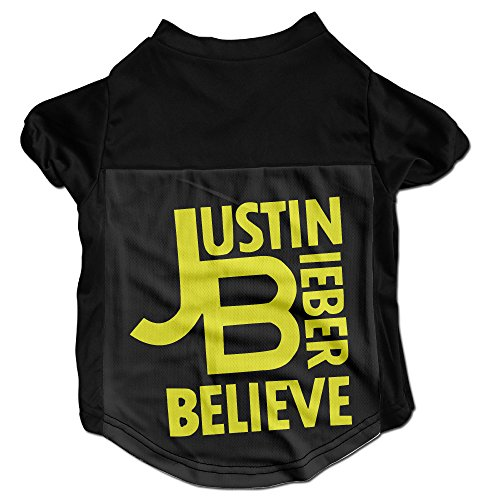 Pappu Justin Bieber-Believe Cute Pet Doggy Tee Size M Black