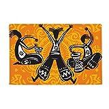 Dance Celebrate Mexico Totems Tambourine Anti-slip Floor Mat Carpet Bathroom Living Room Kitchen Door 16''x30''Gift