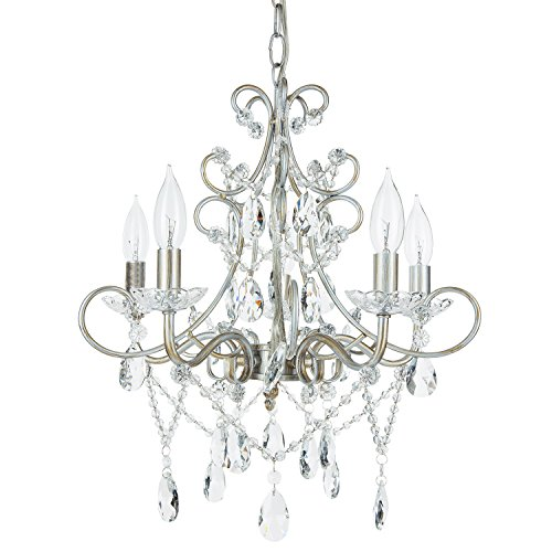 (Theresa Vintage Silver Crystal Chandelier, 5 Light Swag Plug-In Glass Pendant Wrought Iron Ceiling Lighting Fixture Lamp )