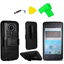 Holster Belt Clip + Hybrid Cover Phone Case + Screen Protector + Extreme Band + Stylus Pen + Pry Tool For ZTE Quest N817 Virgin Assurance QLink N-817 Legacy (Holster Black/Black)
