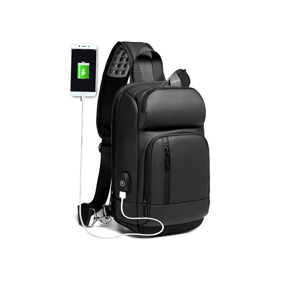 Sling Backpack for Men Cross Body Shoulder Backpack Chest Pack Bag with USB Charging Port Waterproof Small Lightweight Casual Daypack Fits 9.7 Inch Ipad