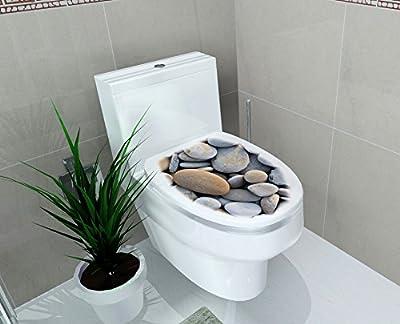 "DNVEN (14""w X 16""h) Cobblestones Pebble Cobble Stone Bathroom Toilet Seat Lid Cover Decals Stickers"