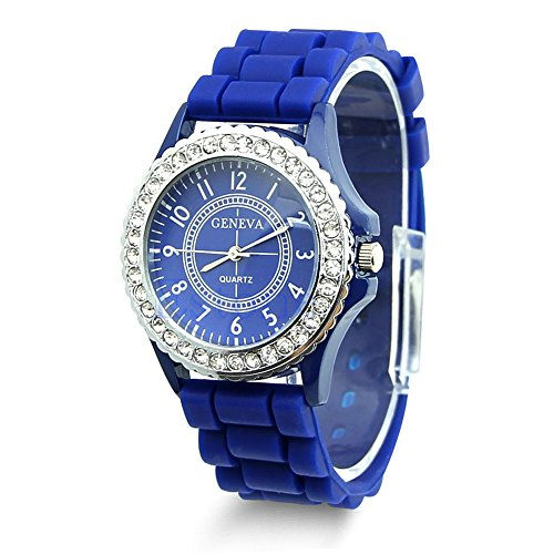 Hot Sell Geneva Silicone Women Bling Crystal Rhinestone Bezel Rubber Jelly Watch Dark Blue