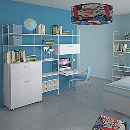 Maconi - Mueble cama - Modelo Link 538 - Material madera - Medidas 85 cm - Acabado blanco veteado