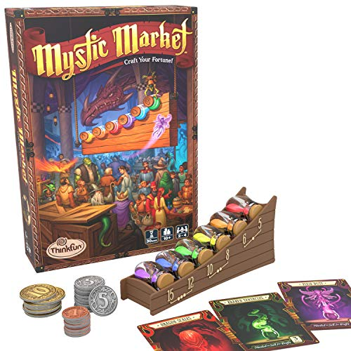 ThinkFun Mystic Market Strategy Card Game for 2-4 Players Ages 10 and Up - an Exciting Fast Paced Game Perfect for Both Families and Gamers, Multi