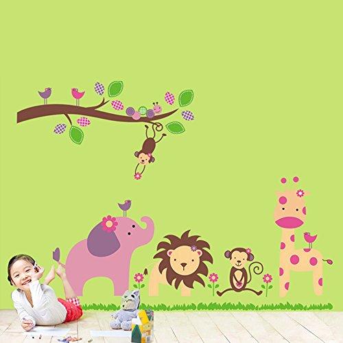 EverTrust(TM) Cartoon Lovely Animal Lion Monkey Giraffe Elephant Zoo Removable Wall Stickers Wallpaper DIY Kid