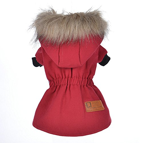 Cat Pet Small Dog Doggy Clothing Winter Warm Padded Thickening Vest Coat Dog Costumes Pet Fur Collar Clothes Sweater Dog Shirt Apparel Doggy Vest Puppy Sweatshirt Outfits Doggy Dress (Red, L) by succeedtop (Image #2)