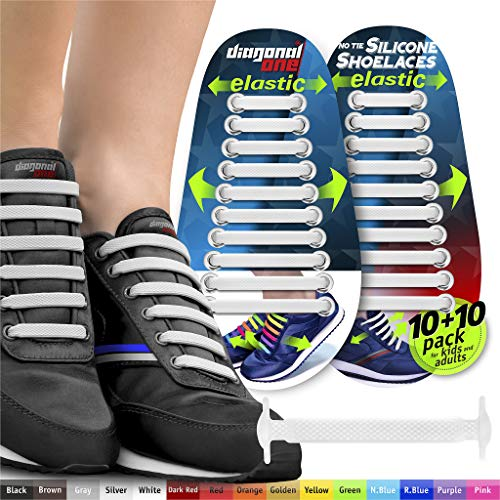 - DIAGONAL ONE No Tie Shoelaces for Kids & Adults. The Elastic Silicone Shoe Laces to Replace Your Shoe Strings. 20 Slip On Tieless Flat Silicon Sneakers Laces (White)