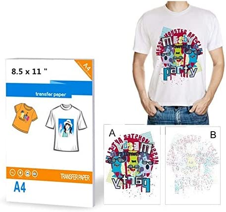Inkjet heat transfer iron on paper for Light color T shirts A4 SIZE-100 SHEETS