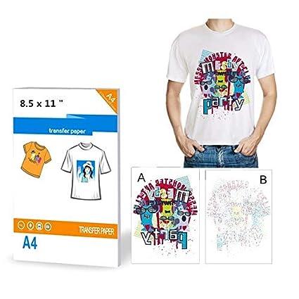10 hojas de papel de transferencia de calor para impresoras de camiseta, A4, para planchar sobre la impresora de inyección de tinta, para tela de ...