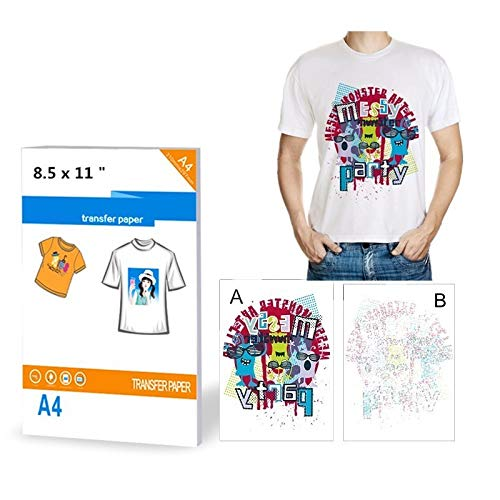 YURROAD 10 Sheets T-Shirt Transfers Printers A4 Iron on Inkjet Heat Transfer Paper for Light Color Fabrics Cloth