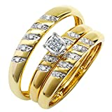Dazzlingrock Collection 0.15 Carat (ctw) 10K Round White Diamond Men & Women's Engagement Ring Trio Set, Yellow Gold