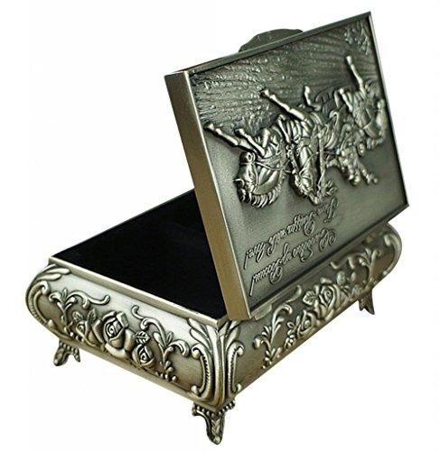 Unendlich U Luxus Synthetik Schmuckkoffer Rectangle-Form War Horses Engraving mit Schmuckbox für Damen,Reines Zinn-Schmuckstück,Silber-Large