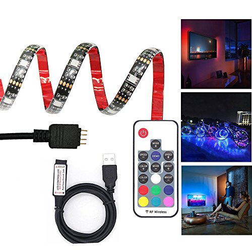 LED TV Backlight Bias Lighting Kit, Sniosa 5V USB Powered Accent Light with 17 key RF Remote, RGB Led Strip Light for HDTV, PC, Home Theater, Desktop Monitor (1M/39.37'', 30Leds, 5050 SMD) (Halloween Desktop Backgrounds Hd)