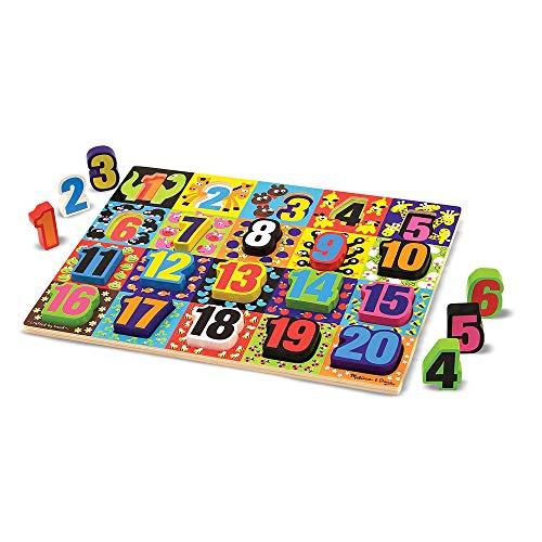 - Melissa & Doug Jumbo Numbers Wooden Chunky Puzzle (20 pcs)