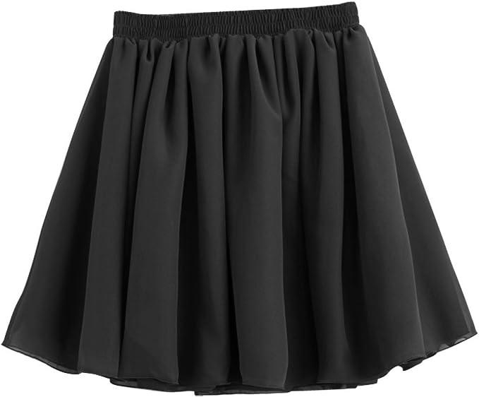 Gleader Negro elastico de cintura alta retro plisado doble capa de ...
