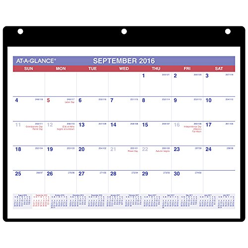 AT-A-GLANCE Academic Year Monthly Desk / Wall Calendar, Sept 2016 - Dec 2017, 16 Months, 11'x8-1/4' (SK700)