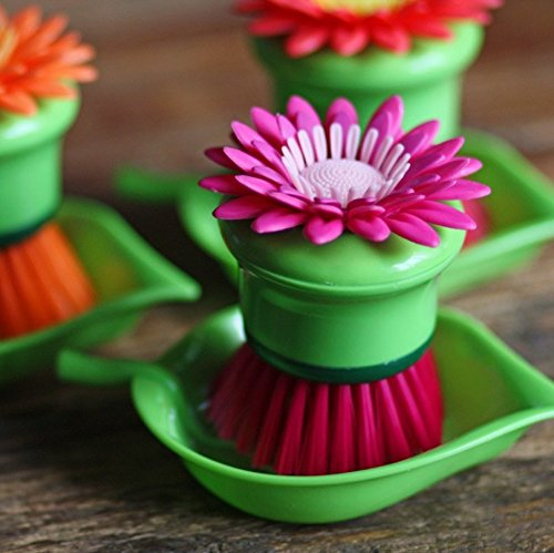 Buwico® Fashion 3 Colors Cute Cleaning Brush Sun Flower Shape Pan Pot Brush Multi Bathroom Brush Cleaning Tool (Purple)