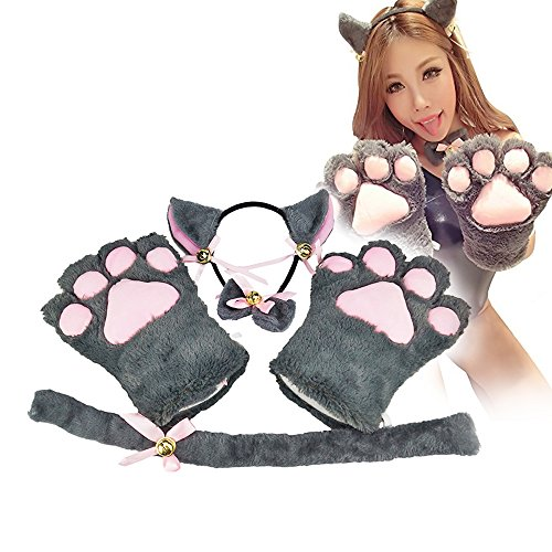 [Cat Cosplay Costume Kitten Tail Ears Collar Paws Gloves Anime Lolita Gothic Set] (Cat Ears And Tail Set)