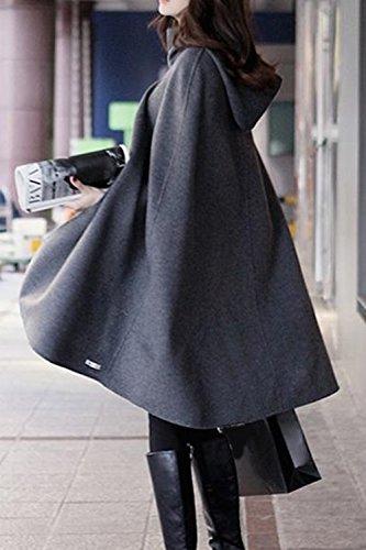 Maxi Mujer Otoño Outwear Invierno Elegante Con Chaqueta gris Capa Capucha La nqI7BW7