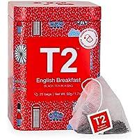 T2 Tea English Breakfast Black Tea, Black Tea Bag in T2 Icon Tin 2020, 25 Count