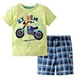 Meeyou Little Boys' Cotton Short Sleeve T-Shirt & Plaid Shorts Set(4T,Motorcycle,Green)