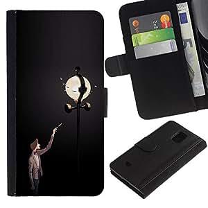 All Phone Most Case / Oferta Especial Cáscara Funda de cuero Monedero Cubierta de proteccion Caso / Wallet Case for Samsung Galaxy S5 Mini, SM-G800 // Street Light Lamp Post Man Dark Night Moon