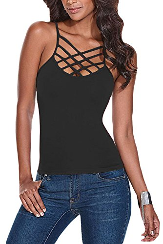 O&W Lady Black Solid Lace Up Bodycon Crisscross Front Cami Sleeveless Tank Top Camisole Vest for Women L