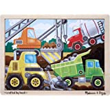 Melissa & Doug Construction Site Vehicles Wooden Jigsaw Puzzle With Storage Tray (12 pcs)