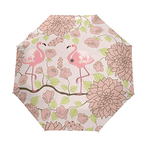 Couple Flamingos Auto Open Close Handle Umbrella Cute Woodproof Compact Rain Umbrella by THENAGD