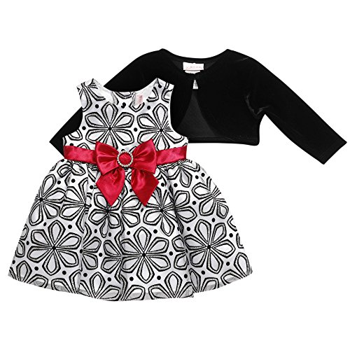 Youngland Baby Girls' 2 Piece Mesh Dress and Knit Cardigan, Black/White Multi, 24 Months