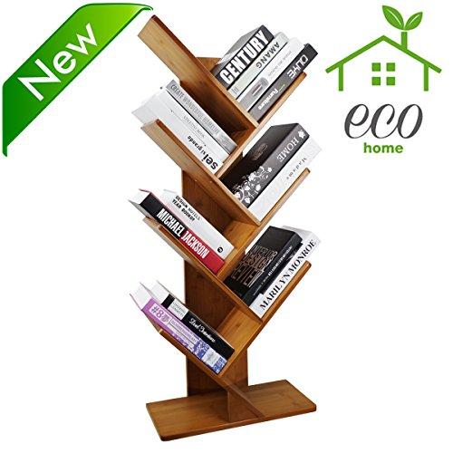 Creative Display Rack (Bamboo 7-Shelf Tree Bookshelf Book Rack Display Storage Organizer Bookcase Shelving Free Standing Bookshelves for CDs, Movies & Books Holder)