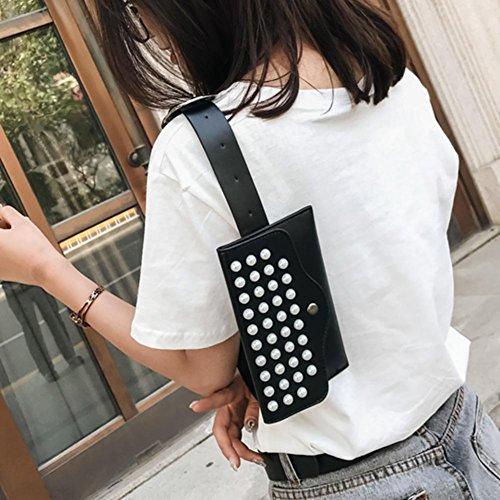 Women Pack Pearls Black Belt Shoulder Mini Domybest Waist Rivets Fanny Bags PU Bag Leather SqTwZI0A