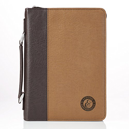 - Bible Cover, Strong and Courageous, Two-Tone Brown, Large