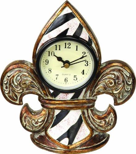 Manual Metal Fleur de Lis Clock, Zebra Stripe, 5.5 X 6.5 X 1.25-Inch