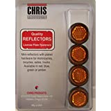 Chris Products CH4A Amber Motorcycle Mini License Plate Reflector, 4 Pack