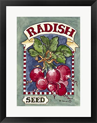 Large Radish-Seed Packet by Barbara Mock Framed Art Print Wall Picture, Black Frame, 20 x 25 - Radishes 25 Seeds