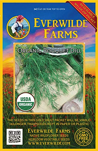 Everwilde Farms - 1000 organic Bouquet Dill Herb Seeds - Gold Vault Packet (Bouquet Dill Seeds)