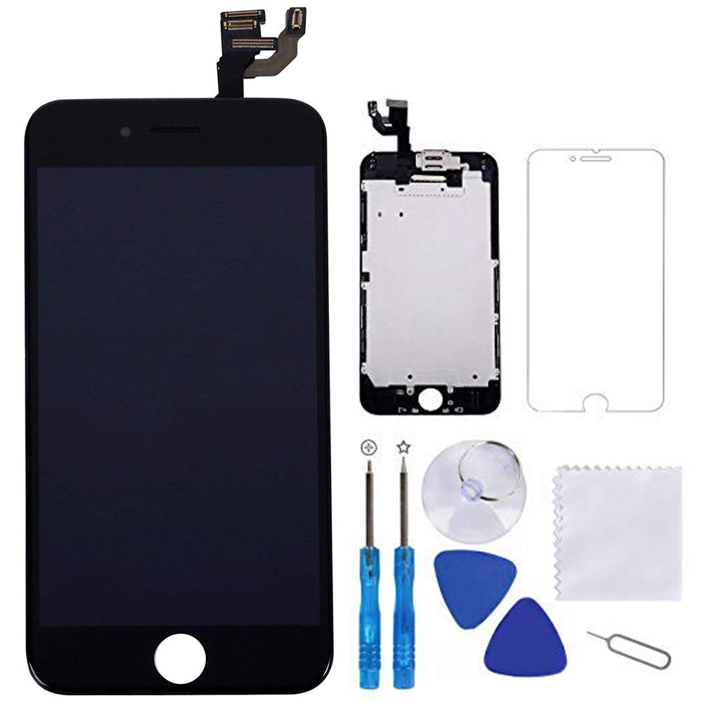 for iPhone 6 Screen Replacement Black 4.7'' LCD Display Touch Digitizer Frame Assembly Full Repair Kit, with Proximity Sensor, Earpiece Speaker, Front Camera, Free Screen Protector, Repair Tools by TEKcians
