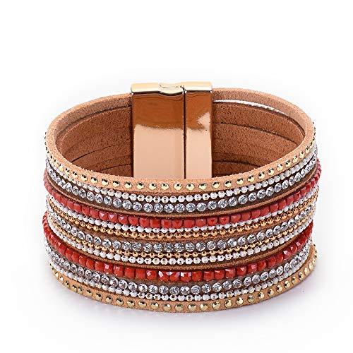 Startoo Layer Cuff Leather Bangle Bracelet - Boho Handmade Braided Multilayer Wrap Magnetic Buckle Bracelet for Women,Teen Girl, Boy,Thanksgiving Gift