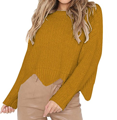 Irrgulier Longues Femmes Jaune Rond Sweat Blouse Automne Hauts Jumper Chandail Pullover Mode Casual Hiver Tricots Col Pulls Sweater Manches Shirts Tops Shirts rOqr8Bw