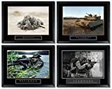 4 Framed Bravery Authority Patience Teamwork Military Motivational Posters Bundle