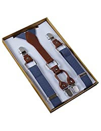 Panegy Men's Unisex 4 Clips Adjustable Suspenders Elastic Y Shape Braces-Grey
