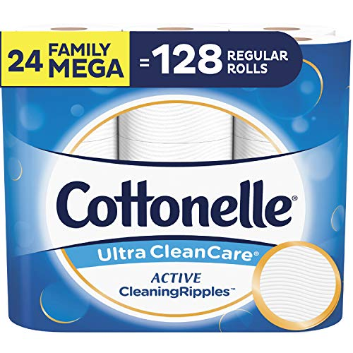 Cottonelle Ultra CleanCare Toilet Paper, with Active CleaningRipples, Strong Biodegradable Bath Tissue, Septic-Safe, 24 Family Mega Rolls (Cottonelle Toilet Paper Bulk)