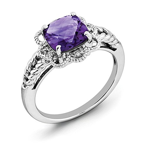 Cut Bow Diamond Cushion Ring (Amethyst & .04 Ctw (H-I Color, I2-I3 Clarity) Diamond Scalloped Sterling Silver Ring, Size 7)